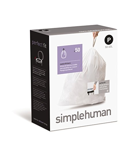 simplehuman custom fit trash can liner p 50 to 60 liter 13 to 16 gallon 50 count kitchen. Black Bedroom Furniture Sets. Home Design Ideas