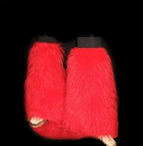 Red Fluffy Furry Boot Covers Legwarmer Neon Party Rave Clubwear Halloween