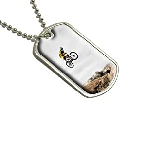 Mountain Bike Biking Military Dog Tag Keychain from Graphics and More