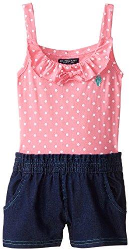 U.S. POLO ASSN. Little Girls' Polka Dot Print Jersey Top and Denim Short Romper, Pink Zinc, 4T Embroidered Jersey Romper