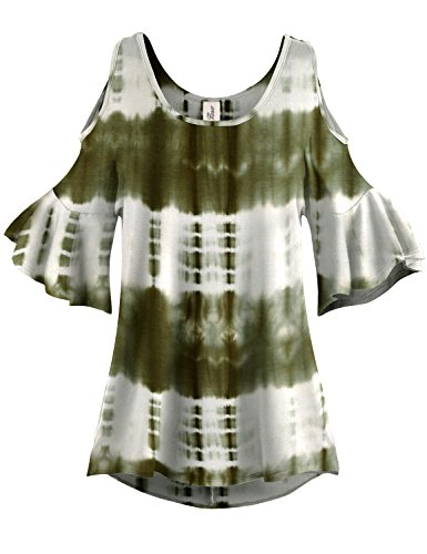 White Patterned Pleated End Cold Shoulder Tunic Tops