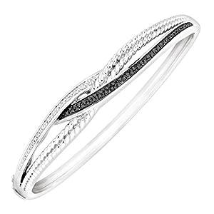 1/4 ct Black & White Diamond Bangle Bracelet in Sterling Silver