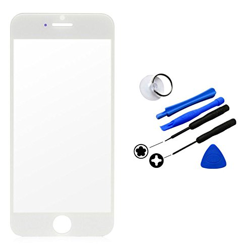 "Front Outer Screen Glass Lens Cover Replacement Part New For Iphone 6 ""4.7"" (White) + Tool Kit Us Cellular Parts"