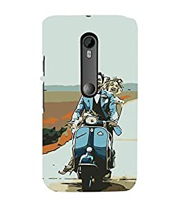 iFasho husband and wife happy drive in scooter Back Case Cover for Moto X Style
