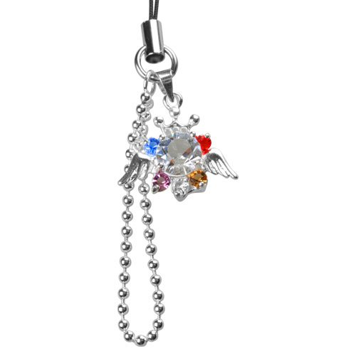 Silver Crown Angel with White Red Blue Purple and Yellow Diamond Crystals Bling Cell Phone Charm Ornament