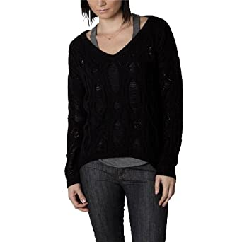 Rusty Ladder Knit Juniors V-Neck Sweater - Black (Large)
