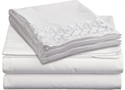 Clara Clark 1800 Collection Bed Sheet Set with a Beautifu Lace Design on the Pillowcase, Queen, White