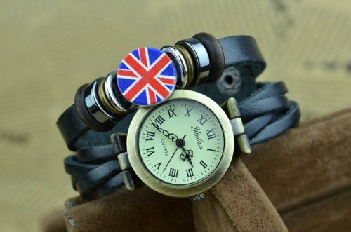 Nsstar Retro Vintage Unisex Couple Lover British Union Jack Uk Flag Beads Quartz Fashion Weave Wrap Around Leather Strap Bracelet Wristband Wrist Watch (Black)