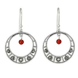 Sterling Silver Marcasite Carnelian Dangle Hoop Drop Earrings