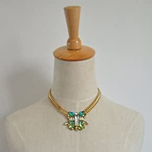 Green Piled Stone Statement Necklace - Great Quality