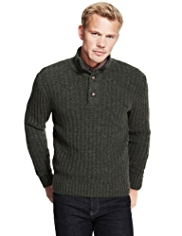 Blue Harbour Heritage Button Neck Jumper with Lambswool