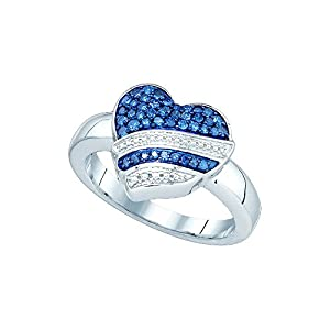 10kt White Gold Womens Round Blue Colored Diamond Heart Love Fashion Ring 1/3 Cttw