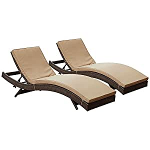 LexMod Peer Outdoor Wicker Chaise Lounge Chair with Brown Rattan and Mocha Cushions, Set of 2