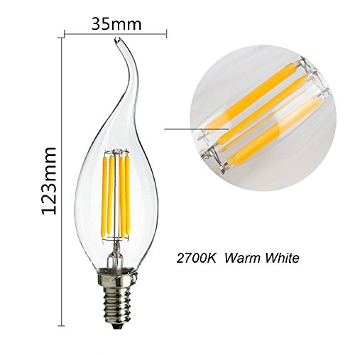 Antique LED Bulb,GOODIA E12 Candelabra Base 4W Dimmable COB LED Filament Flame Tip Vintage Candle Light Bulb For Home,Kitchen,Dining Room,Bedroom,Living Room,40W Incandescent Replacement,6 Pack 1