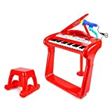 Classical Elegant Piano Kids Childrens Toy Keyboard Musical Instrument Play Set W/ Microphone, Stool, 37 Key Piano...