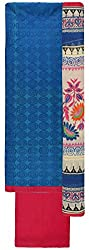 Sanskriti Women's Chanderi Silk Unstitched Dress Material (Blue and Pink)