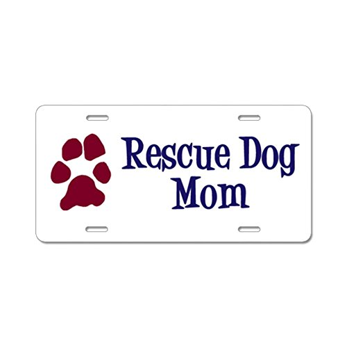 CafePress - Rescue Dog Mom Aluminum License Plate - Aluminum License Plate, Front License Plate, Vanity Tag