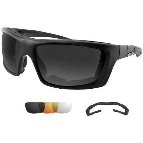 Bobster Trident Polarized Sunglasses,Black Frame/Smoke,Clear,Amber Lens,One Size