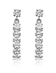 BIG Tree 18K White Gold Plated Silver CZ Diamond Vertical Earring For Women.