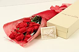 BOUQUET OF ROSES, Elegantly Wrapped, Presented in a Charming Gift Box (Includes a Handsome Blank Card); Unbelievably Natural Look and Feel, See Size and Color Options (Classic Bouquet, Valentine Red)