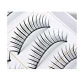 Niceeshop(TM) 1 Set(10 pairs) Handcraft Reusable Thick Natural False Eyelashes with Transparent Stems
