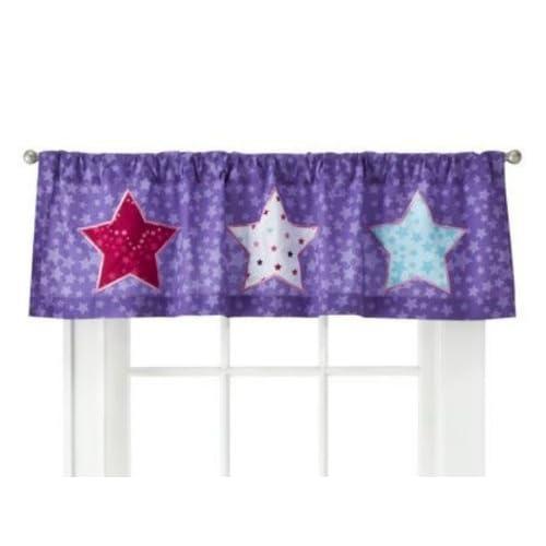 ... Star Power Window Valance Blue Pink & Purple Stars Curtain Topper