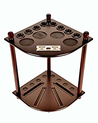Cue Rack Only - 8 Pool Billiard Stick & Ball Floor Stand With Scorer Choose Mahogany or Black Finish