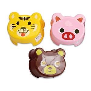 "4.5""h Plastic Animal Face Print Step Stool - Pink Piggy by 4 Season"