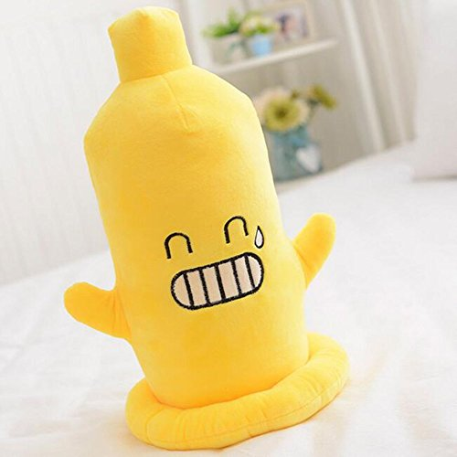 Dongcrystal Creative Condom Pillow Yellow Emoji Smiley Emoticon Bared Teeth Face Stuffed Plush Soft Toy