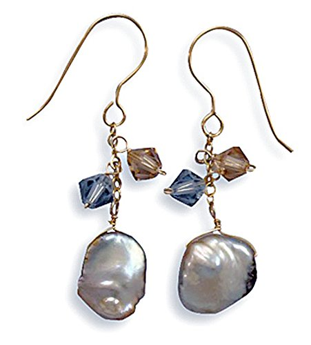 Clevereve Designer Series Gold Filled Swarovski Crystals & 11Mm Keshi Pearl Earrings W/ French Wire