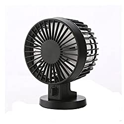 Life Boost Portable Rechargeable Electric Fans USB Powered 2-modes Speed Adjustable Double Blades Mini Fan Black Black