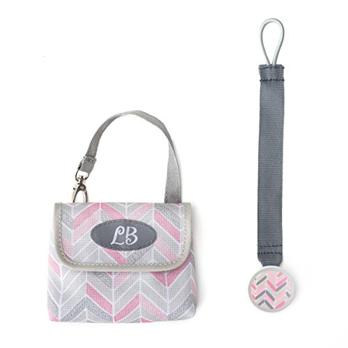 DEMDACO Lillybit Pacifier Pouch and Strap Set, Chevron