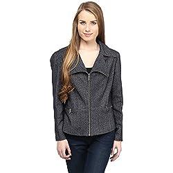 RARE Grey Solid Full Sleeve Women's Jacket