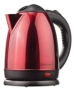 Brentwood KT1785 Stainless Steel Electric Tea Kettle, 1.5-Liter, Red