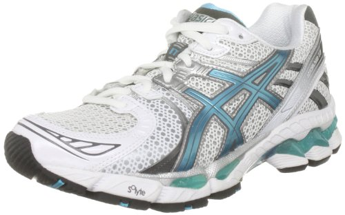 Asics Women's Gel Kayano 17 W White/Turquoise/Lightning Trainer T150N 0140 3 UK