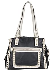 Aadaana Women's Handbag (White And Black, ADL-081)