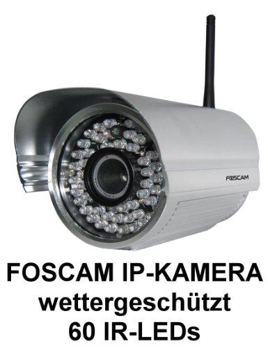 Foscam FI8905W Netzwerk Kamera IP-Kamera 6mm Objektiv wetterfeste IP Kamera FREE DDNS MJPEG 30m Nachtsicht WLAN 300MBit/s 60 IR LEDs Für MAC / Windows / Linux / Android und IP