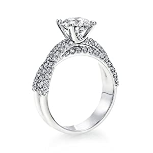 GIA Certified, Round Cut, Solitaire Diamond Ring in 18K Gold / White (2 ct, F Color, VS2 Clarity)