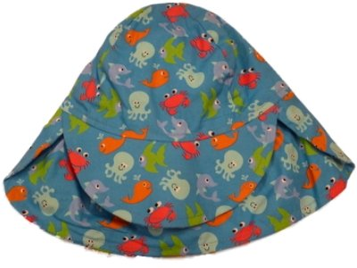 Toddler Boys Royal Blue Sun Hat Sea Creature Bucket Hat Fish Octopus Crab Aqua