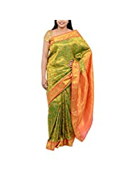 Kothari Green Silk Saree For Women - B00TS2NEXQ