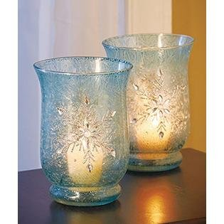 Set of 2 Elegant Frosted Ice Blue Snowflake Winter Jeweled Glass Candle Holders Christmas Table Top Decor