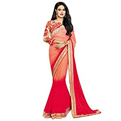 Vishal Red and Gajri Georgette Diamond and embroidery work on Saree with Embroidery work on Blouse Saree