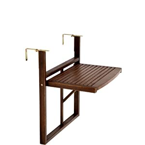 Butlers lodge folding table for balcony railings brown for Table de balcon ikea