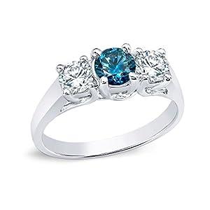 18k White Gold Round-cut Three-Stone Blue Diamond Engagement Ring (3/4 cttw, Blue, H-I, I1-I2)