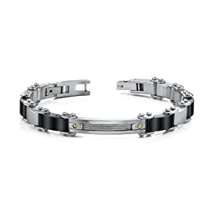 Revoni Stainless Steel Mens Bracelet With Cable Design And 18 Karat Gold Rivets by Revoni