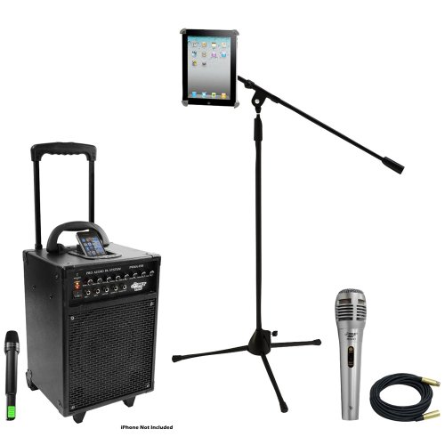 Pyle Speaker, Mic, Cable and Stand Package - PWMA930I 600 Watt VHF Wireless Portable PA Speaker System/Echo W/Ipod Dock - PDMIK1 Professional Moving Coil Dynamic Handheld Microphone - PMKSPAD1 Multimedia Microphone Stand With Adapter for iPad 2 (Adjustable for Compatibility w/iPad 1) - PPMCL30 30ft. Symmetric Microphone Cable XLR Female to XLR Male