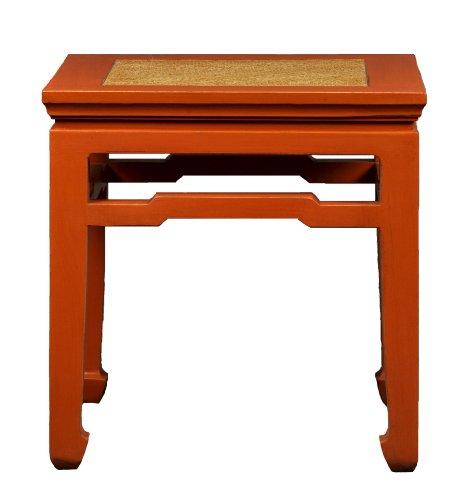 Antique Revival Xian-Style Wooden Square End Table, Orange