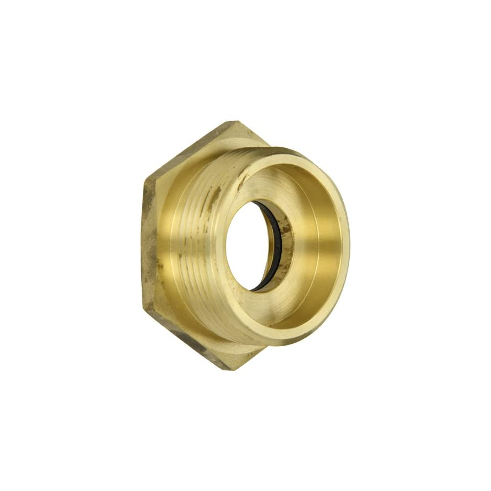 Moon 356 1522521 Brass Fire Hose Adapter, Bushing Hex, 1 1/2 NH Female x 2 1/2 NH Male