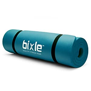 Bixle(TM) 1/2-Inch Extra Thick (15mm) 72-Inch Long High Density Exercise Yoga Mat with Comfort Foam and Carrying Case (Aqua)