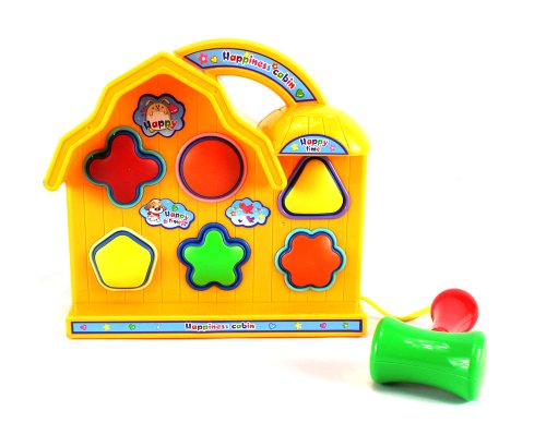 Baby Basics Happy Time Cabin Colorful Shape Sorter Toy w/ 6 Shapes, Toy Hammer